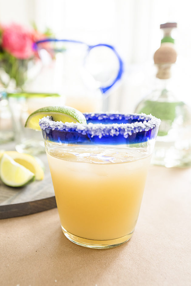 Classic Margarita with salted rim and lime garnish