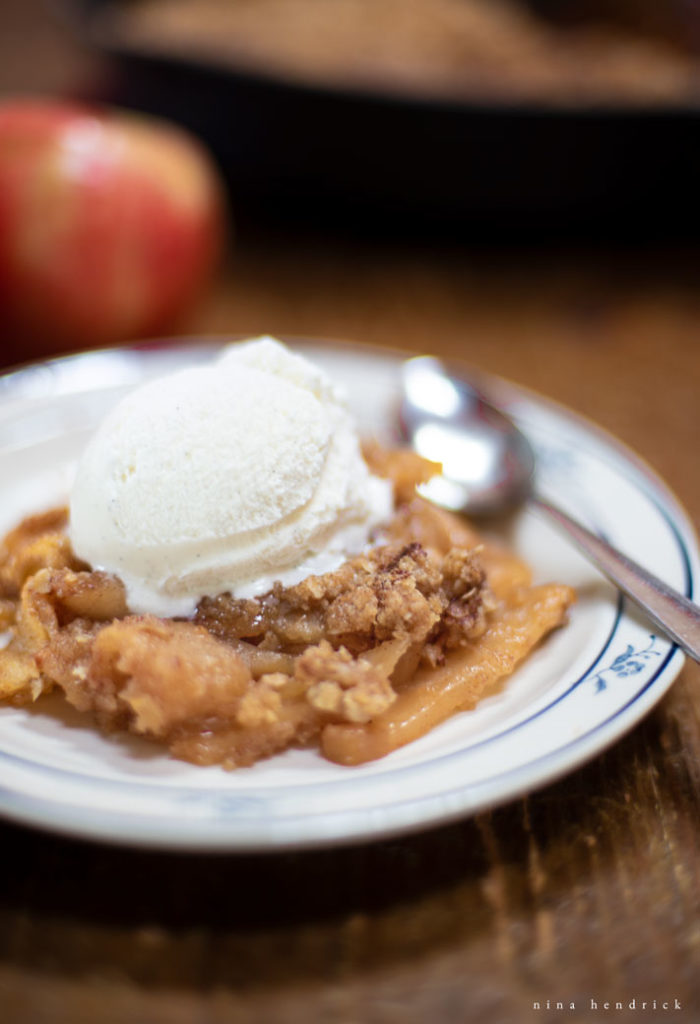 New England apple crisp served a la mode