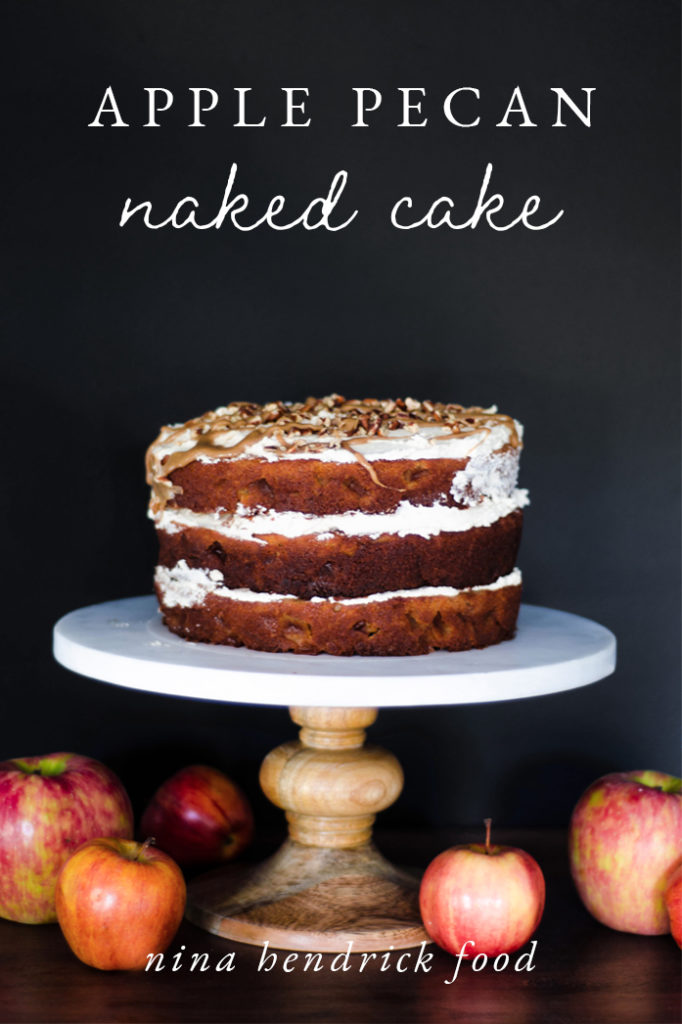 Apple pecan naked cake on cake stand