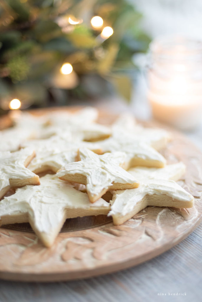 Classic Sugar Cookies cut into stars for Christmas