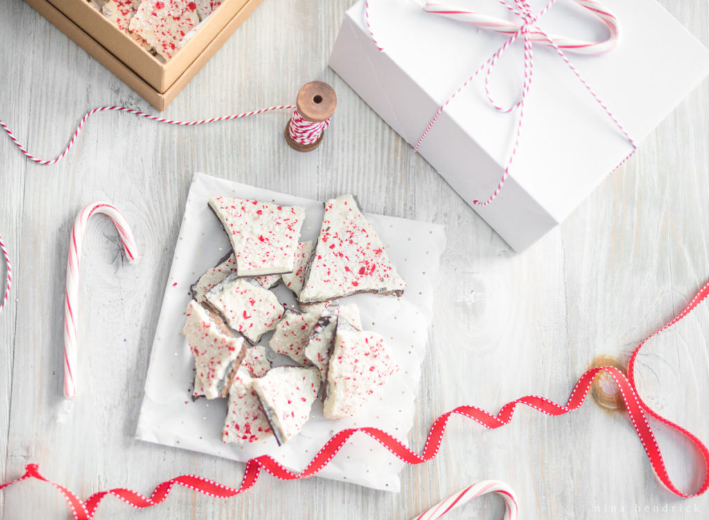 peppermint bark with gift wrap