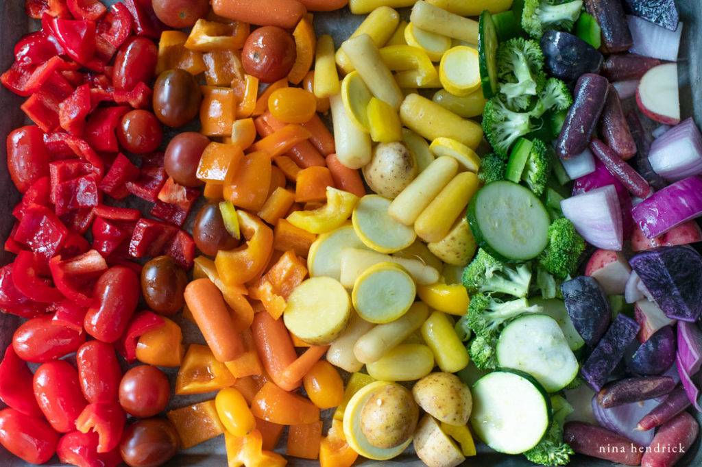 rainbow of vegetables in a sheet pan