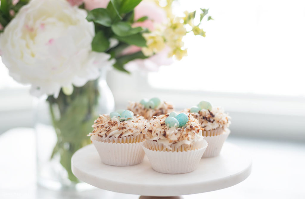 easter cupcakes with flowers