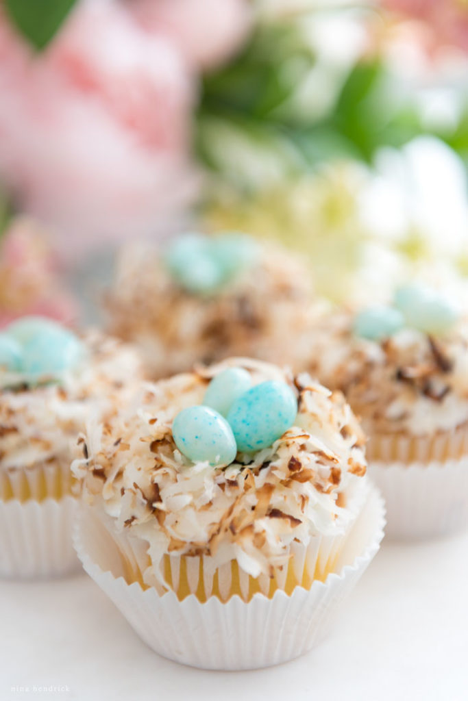 toasted coconut nest cupcakes with robin egg jelly beans