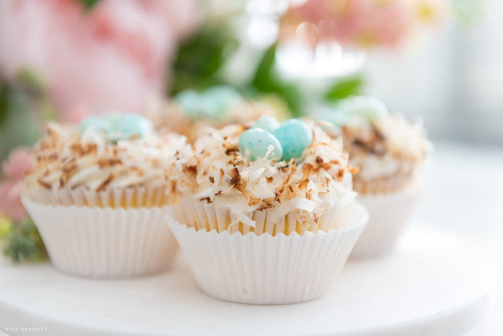 adorable toasted coconut nest easter and spring cupcakes