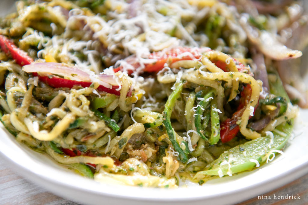 Spiralized Veggie Pesto Primavera