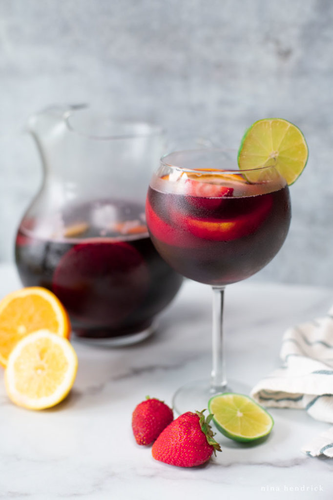 Classic Red Sangria with oranges, limes, lemons, and strawberries